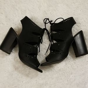 Black Lace Up Spring Bootie